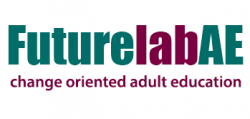 Futurelab - change oriented adult education, logo in turquoise and wine red
