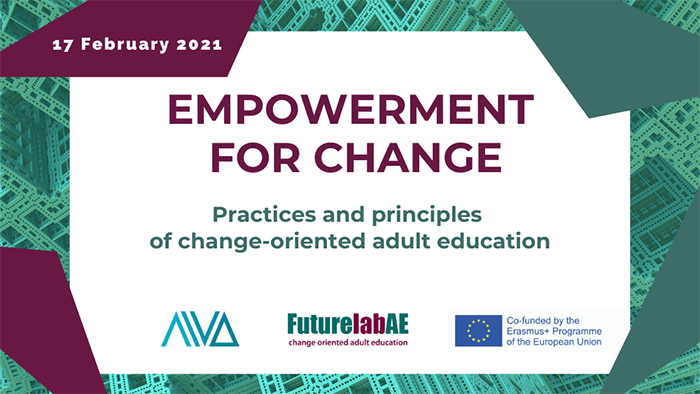 banner with text empowerment for change - practices and principles of change-oriented adult education