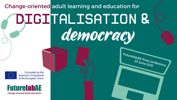 banner with text change-oriented adult learning and education for digitalisation and democracy, picture of headphones, ballot box, hand with a voting ticket, computer and a mouse